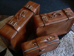 Vintage Retro Soft Brown SPARTANITE matching Suit / Luggage Case set of 3