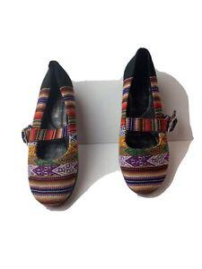 D'carli Peruvian Striped Pattern Woven Fabric Flat Shoes Size 6 Made In Peru