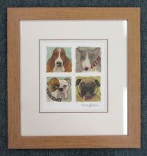 Nicky Belton Framed Original Art Watercolour Mixed Media Painting - Dogs 4 in 1