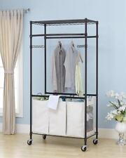 New Bronze 2-Tier Rolling Clothing Garment Rack Shelving Wire Shelf Dress G72