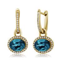 4.44 Ct Oval London Blue Topaz 18K Yellow Gold Plated Silver Dangle Earrings