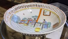 ANTIQUE CHINESE QIANLONG HAND PAINTED FIGURE BOWL PLATE PLUMS FRUIT FAMILLE ROSE