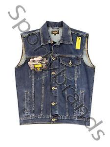 Mens Denim Jean Sleeveless Classic Gilet Body warmer 100% Cotton Jacket Top