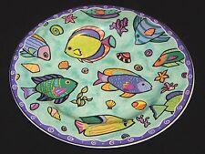 "1996~1998 SAKURA Stoneware SUE ZIPKIN ""CARIBBEAN WAVE"" 8 1/2"" Salad / Dessert"