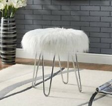 Faux Fur Ottoman Step Stool For Girls Teens Women Small Vanity Chair Glam Decor