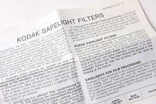 Kodak 1977 Safelight Filters Instruction Sheet - English - USED B32