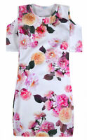 Girls Floral Dress Cold Shoulder Midi Dresses Ages 5 6 7 8 9 10 11 12 13 Years