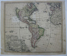 America Nord- Südamerika Mappa generalis Homann kolor Kupferstichkarte 1736