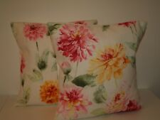 "LAURA ASHLEY DAHLIA PARADE PINK GRAPEFRUIT PAIR OF 16"" CUSHION COVERS"