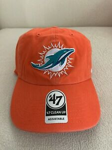 '47 Brand NFL Miami Dolphins Clean Up Adjustable Dad Hat Cap NEW 47