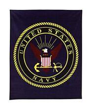 "Us Navy Insignia Fleece Blanket, 50"" x 60"", Navy Blue"