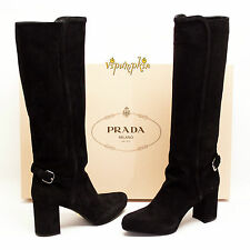 PRADA CALZATURE DONNA BLACK SUEDE KNEE HIGH BOOTS 1WP083 NEW 9 US 39 EU