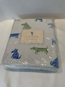 Pottery Barn Kids Duvet Cover Blue Dog Pattern Includes Plaid Pillow Case Open