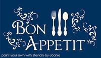 Bon Appetit Lg STENCIL French Scroll Shabby Cottage Kitchen Eat Fork Knife Sign