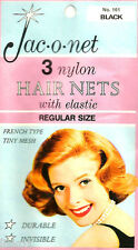 Jac-O-Net  #161  French Type Tiny mesh Hair Nets  w/Elastic (3) pcs  Black