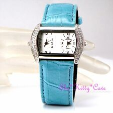 Designer Turchese Argento Dual Quadrante doppio fuso orario watch w / cristalli Swarovski