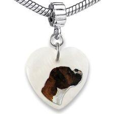 Boxer Dog Heart Mother Of Pearl European Charm Bead For Bracelet EBS30