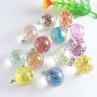 Handmade Dried Flowers Clear Glass Ball Charms Necklace Pendant Crafts 5pcs