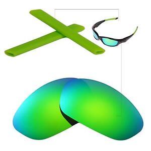 New Walleva Polarized Emerald Lenses + Green Earsocks For Oakley Straight Jacket