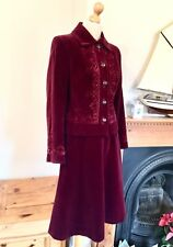 Mansfield Vintage Velvet And Lace Skirt Jacket Suit , Size S / M