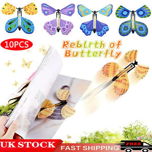 10x Magic Flying Wind Up Butterfly Toy For Birthday Greeting Card Wedding Prank