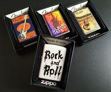 Zippo 4er Set: FENDER + Rock n Roll