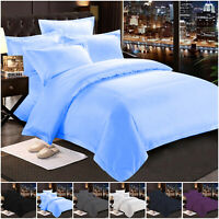 Plain Duvet Quilt Cover with Pillow Case Bedding Set Single Double King Size