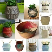 UK Seagrass Belly Storage Basket Flower Pots Plants Laundry Holder Garden Decors