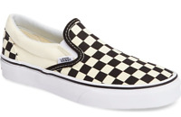 Vans Unisex Classic Slip-On Checkerboard Sneakers, Black/ White Checker