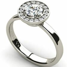 Engagement Halo Good Cut White Gold Fine Diamond Rings