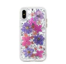 Cute for iPhone X 7 8 Plus 6s Bling Glitter Foil Cover Real Petals Flowers Case
