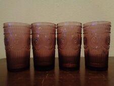 Pioneer Woman Adeline Glass Embossed Purple/Plum 16 oz Tumbler Glasses Set Of 4