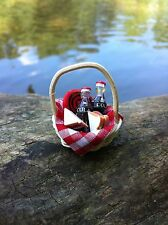 "Dollhouse Miniature Picnic Basket Set Cokes Frisbee Sandwiches 1"" scale 1:12"
