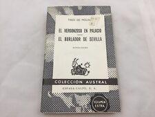 1970 BOOK - EL VERGONZOSO EN PALACIO - EL BURLADOR DE SEVILLA - TIRSO DE MOLINA
