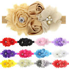 New Infant Baby Lace Flowers Two Rose Pearl Rhinestone Hair Band Headband G