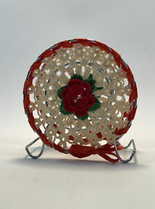 """5"""" Handmade Knitted Napkin Holder White and Red with a Rose Ribbon Doily"""