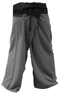 LannaPremium 2 Tone Thai Fisherman Pants Men Yoga Trousers - one size fits most
