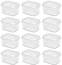 12) Sterilite 18018612 Micro Flip Top Latching Storage Box Card Container Clear