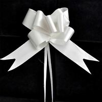 40 x 50mm Large Pull Bows Silver Satin Ribbons Wedding Gifts Wrap Car Decoration