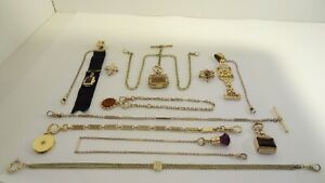 Lot Antique Gold Filled & Metal Pocket Watch Chains Fobs Pins Use Scrap Re-sell