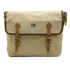 Troop London - Washed Stone Canvas Heritage Messenger Bag with Leather Trim