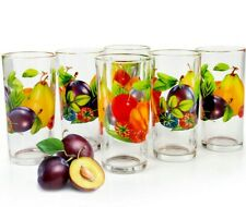 6 Tall Juice Glasses with Fruit and Berry Decal 8 fl oz ea Made in Russia