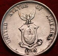 1945-D Philippines 20 Centavos Silver Foreign Coin