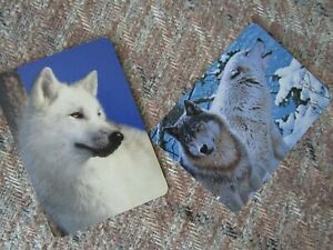 WOLVES SWAP PLAYING CARD~LINEN BRAND NEW~SET OF 2 X WHITE WOLVES CARDS#2BB