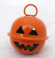 Halloween Metal Jingle Bell Tree Ornament Primitive Rustic Jewelry Pumpkin Face