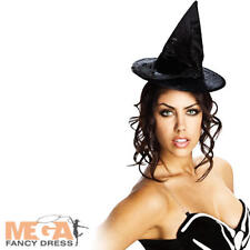 Black Mini Witch Hat Ladies Fancy Dress Halloween Womens Adult Costume Accessory
