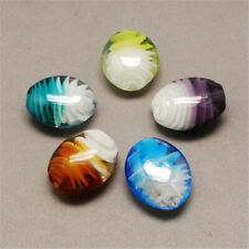 100Pcs Pearlized Oval  Handmade Lampwork Beads Mixed Color 21x18x10mm Hole 2.5mm