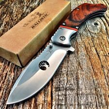 ELK RIDGE BALLISTIC Spring Assisted Open Folding Pocket Knife WOOD HANDLE -F