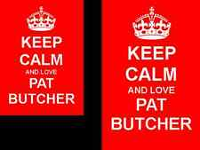 Keep Calm And Love Pat Butcher Novelty 2 Sided Keyring And Fridge Magnet Set