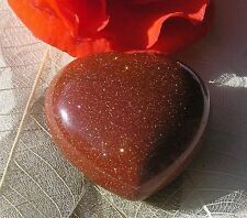 Brown Goldstone Solid Gemstone Crystal Puffy Heart, 40mm, Free UK Postage